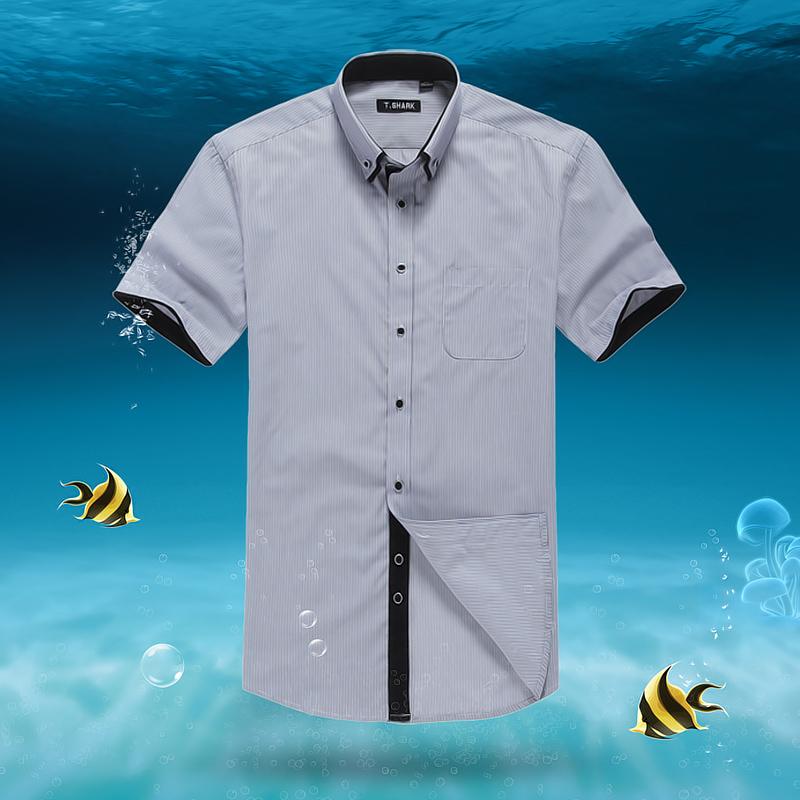 夏季短袖衬衫男士商务衬衣免烫莫代尔条纹寸衫韩版拼接双领衣服
