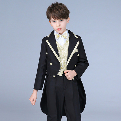 Children's dress tuxedo suit flower girl dress boy piano costume hosted wedding suit magic suit