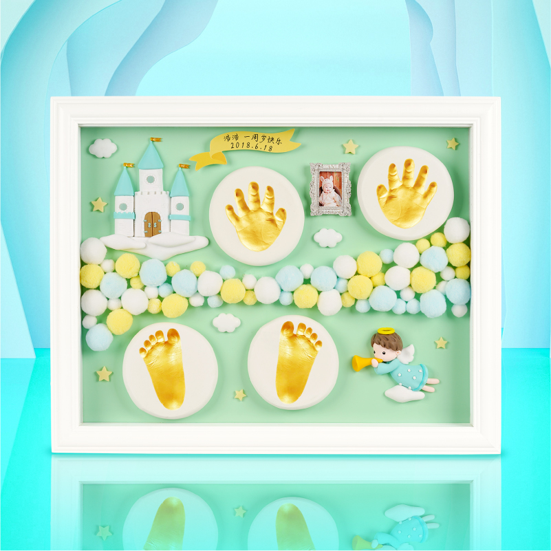 New Upgrade   Sky And Sky City     Cyan (imported Pine European Large Frame + Lamp + Number + Gift Box)