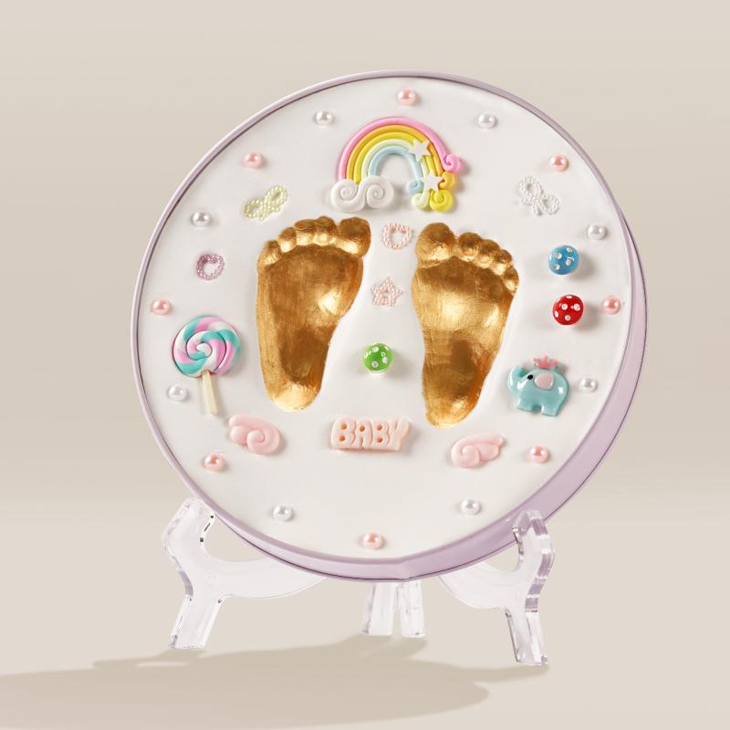 宝宝手足手脚印泥,新生婴儿百天礼物