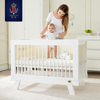 蒂愛嬰兒床拼接大床bb床櫸木實木多功能寶寶床白色童床可變成人床