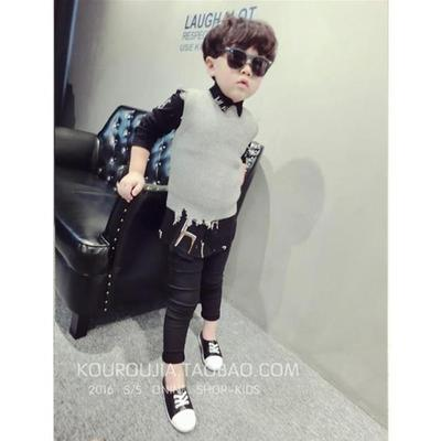Buckle meat children's clothing boys knitted vest baby vest children Korean sweater sweater 2017 spring and autumn new wave