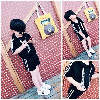 Children's clothing summer 2017 new big boy short-sleeved shorts two-piece childrens hooded T-shirt casual suit