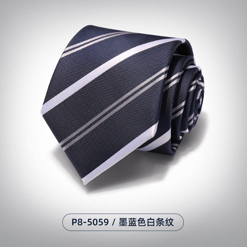 Ink Blue And White Stripes -5059 [hand Tie]
