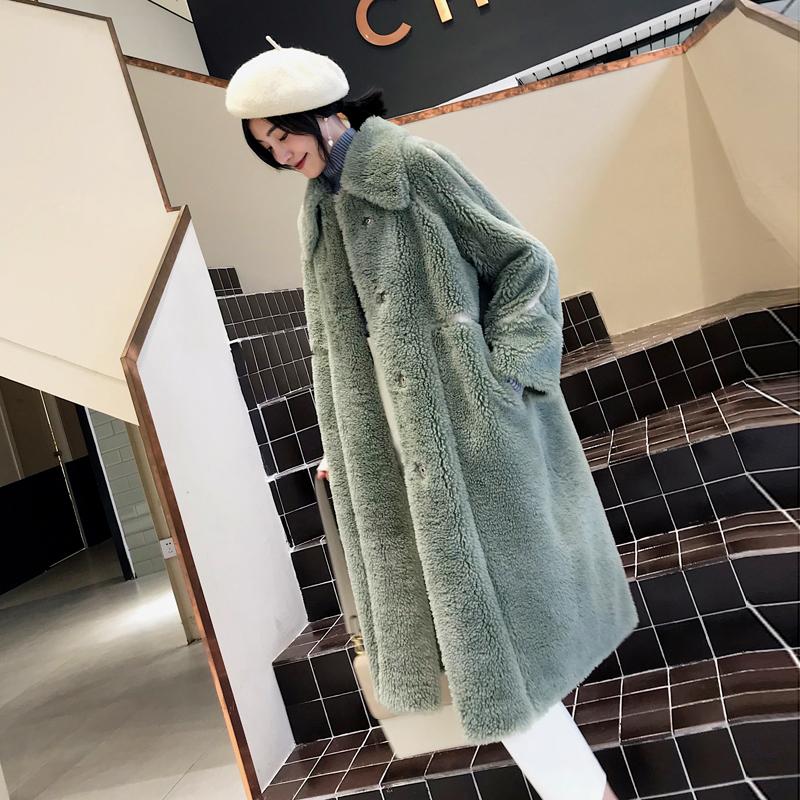 锁姿2018新款冬澳洲羊羔毛皮草外套女长款羊剪绒复合皮毛一体大衣