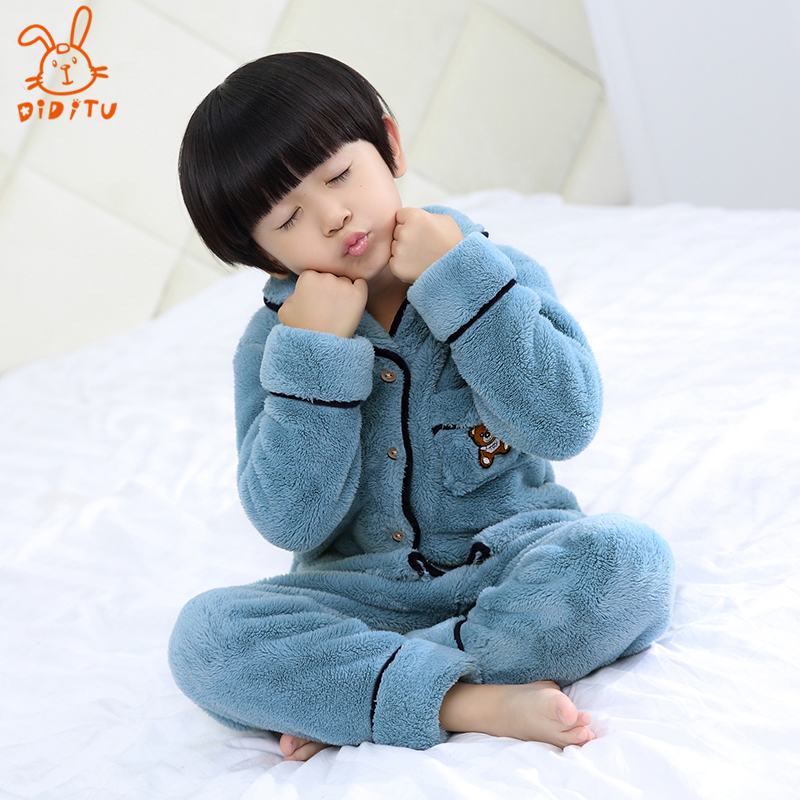 72cf25fc7cba USD 70.21  Children s pajamas girls flannel thickened suit in the ...