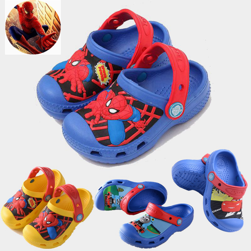 c9c214ac11c9e Children s summer sandals Slipper hole shoes Spider-Man Baotou beach non-slip  boy baby small children Big child