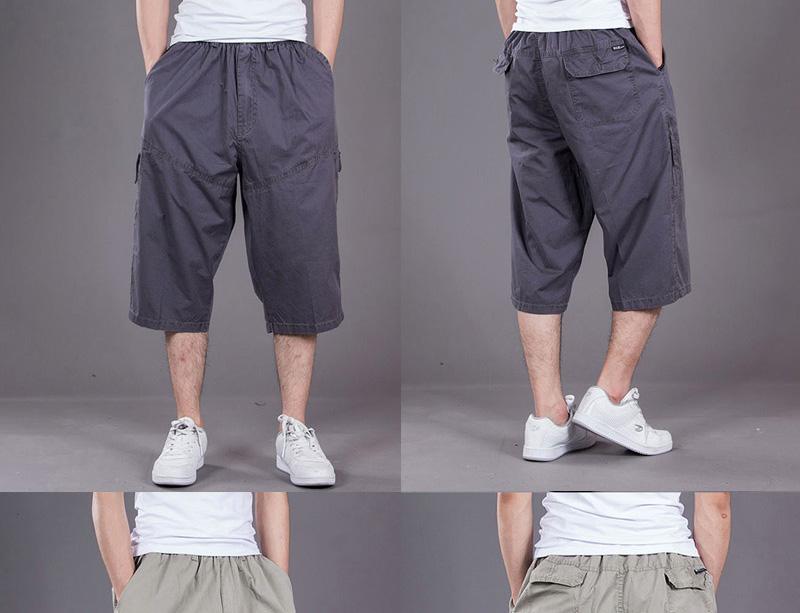 Mùa hè mới của nam giới kích thước lớn bảy quần của nam giới cộng với phân bón để tăng quần nam lỏng bông giản dị yếm thể thao chất béo