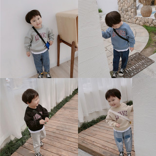 Baby sweater round neck Korean version 2021 new spring and autumn clothes for boys and children's tide baby fake two-piece jacket foreign style