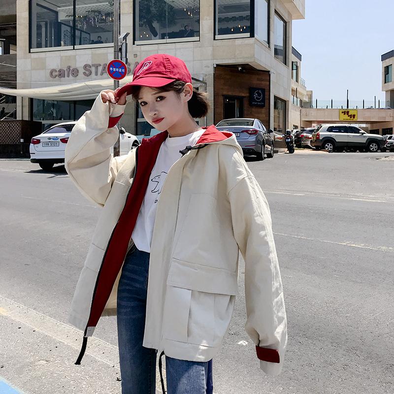 嘻哈风外套女春秋韩版学生bf原宿宽松大码拼色抽绳港风棒球服风衣