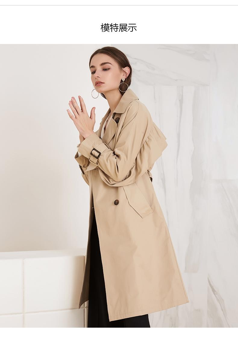 拉夏贝尔卡其色风衣女士2019春季新款春韩版气质大衣时尚中长外套