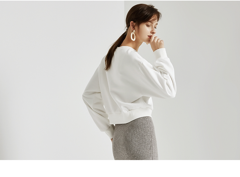 La Chapelle/拉夏贝尔白卫衣女2018冬新款韩版上衣外套