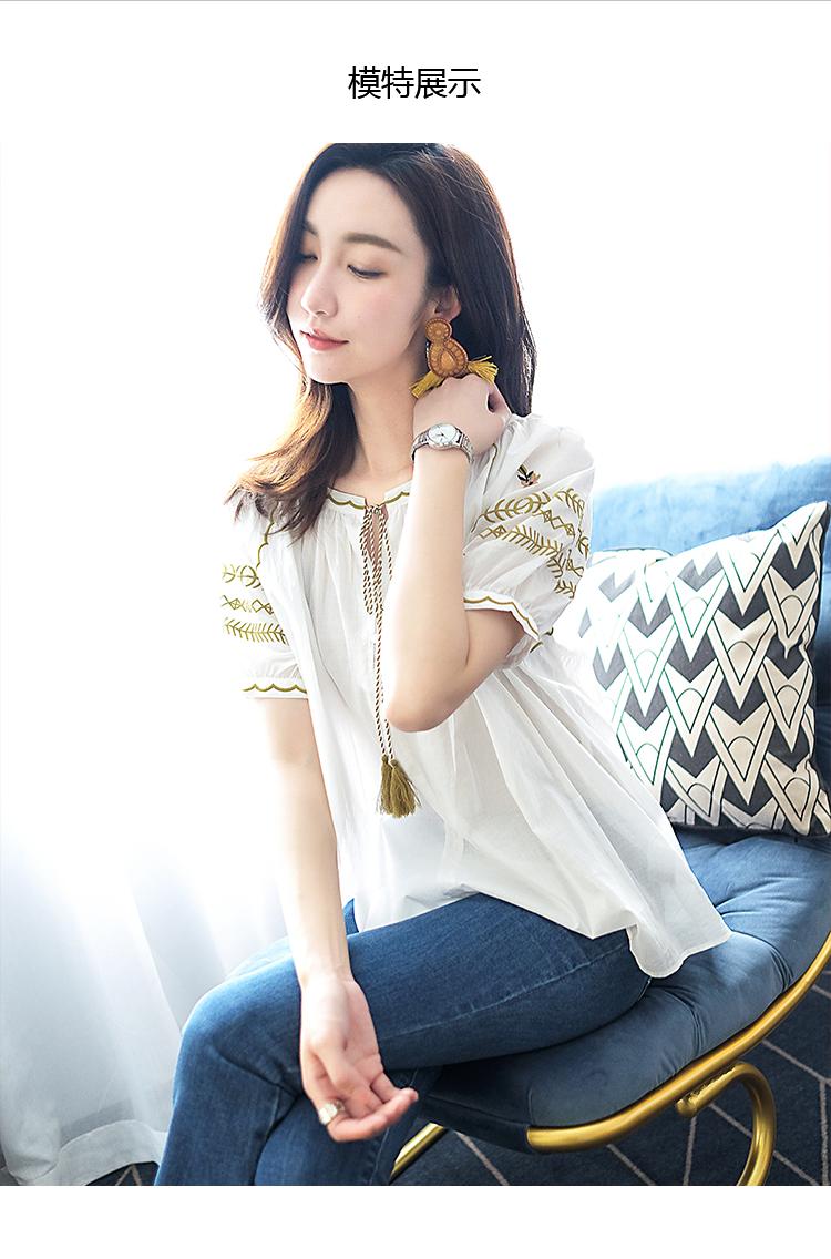 拉夏贝尔女装2019夏装新款白色短袖衬上衣圆领衬衣