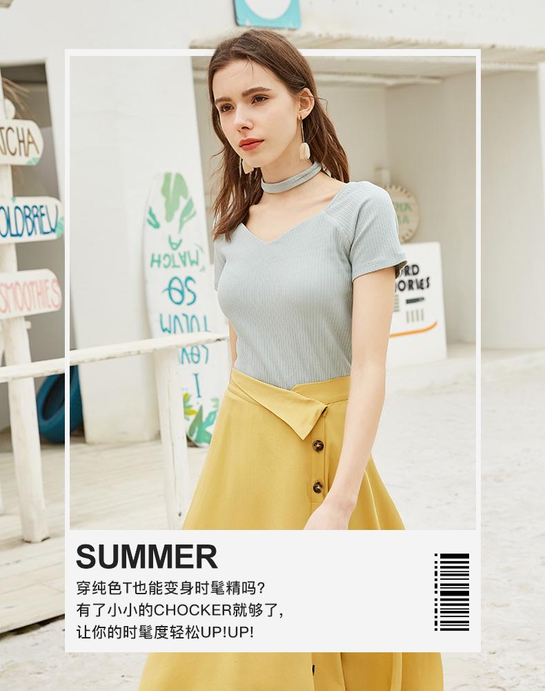 拉夏贝尔夏装2019新款v领短袖T恤女韩版短款修身上衣打底衫