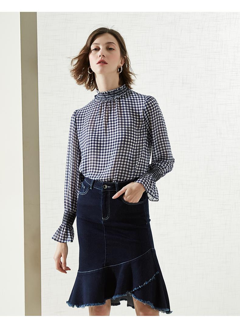 拉夏贝尔职业衬衫2019新款女装长袖上衣衬衣
