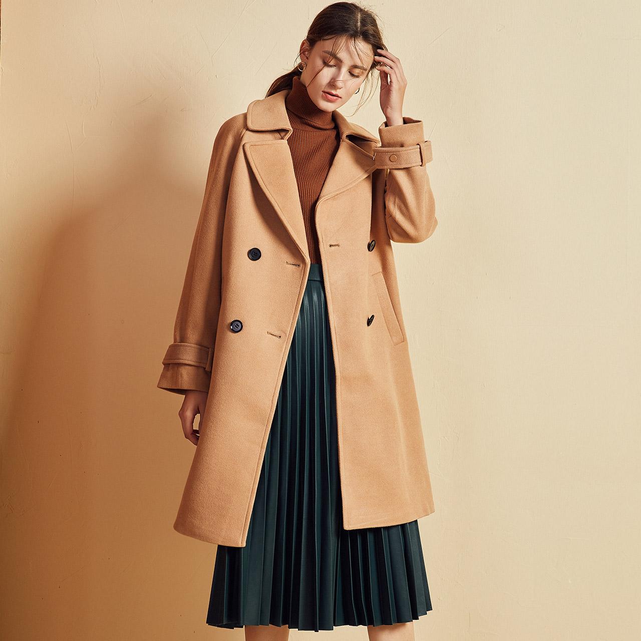 反季白菜 La Chapelle 拉夏贝尔 女式毛呢大衣 聚划算+天猫优惠券折后¥99包邮(¥299-200)3色可选