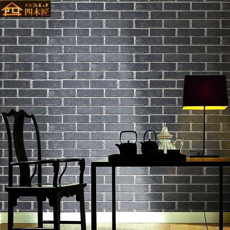 中式复古砖纹红砖青砖仿古砖头墙纸 3d立体砖块文化石背景墙壁纸