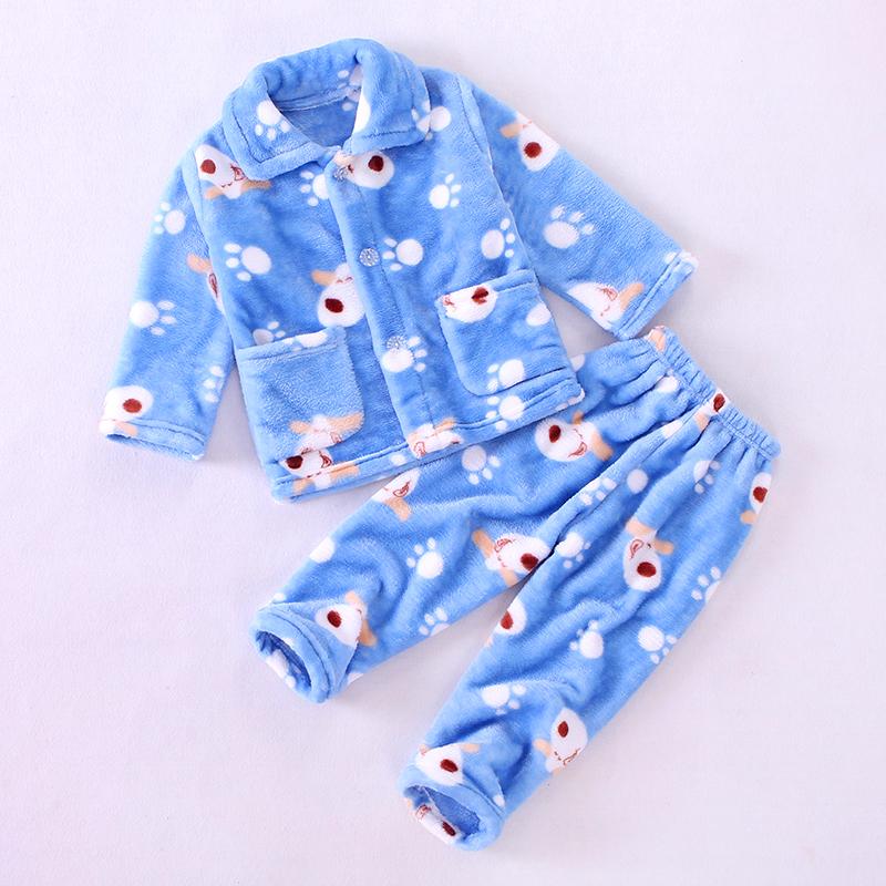 秋冬季儿童法兰绒睡衣男童女童宝宝家居服加厚套装男孩小孩珊瑚绒