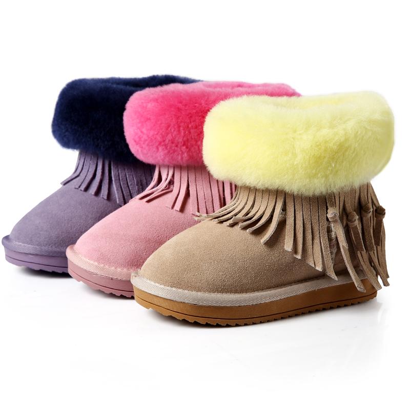 冬季新款儿童雪地靴女真毛牛皮韩版流苏短靴棉靴女童靴子断码清仓