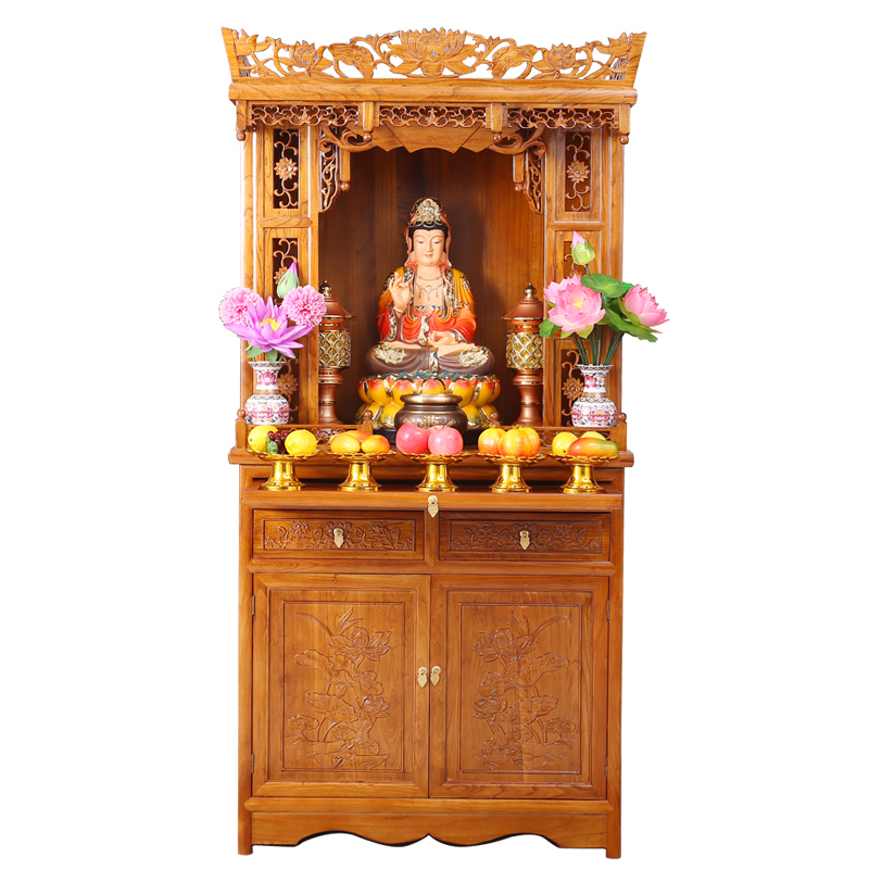 All Solid Wood Buddha Cabinet Buddha Temple Cabinet Elm God Taiwan Antique  Buddha Hall Cabinet With ...