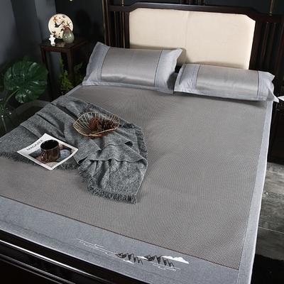 冰藤席三件套可折叠冰丝凉席双人1.8m床草席1.5米空调软席子家用