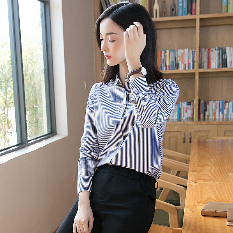 221bf6fe66f Shirt female long sleeve 2018 spring new Korean fashion blue and white striped  shirt loose tooling ol professional shirt