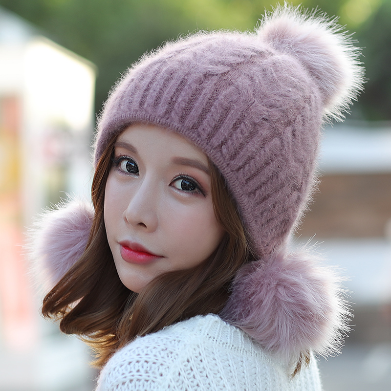 65cfe113f50 Hat female autumn and winter wild wool hat Korean sweet cute ear rabbit fur  hat winter thick warm knit hat