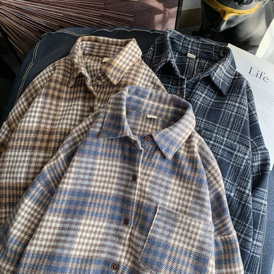 Autumn and winter Plaid Shirt Men's Hong Kong Style loose casual bottomed shirt Korean Trend brushed couple versatile coat