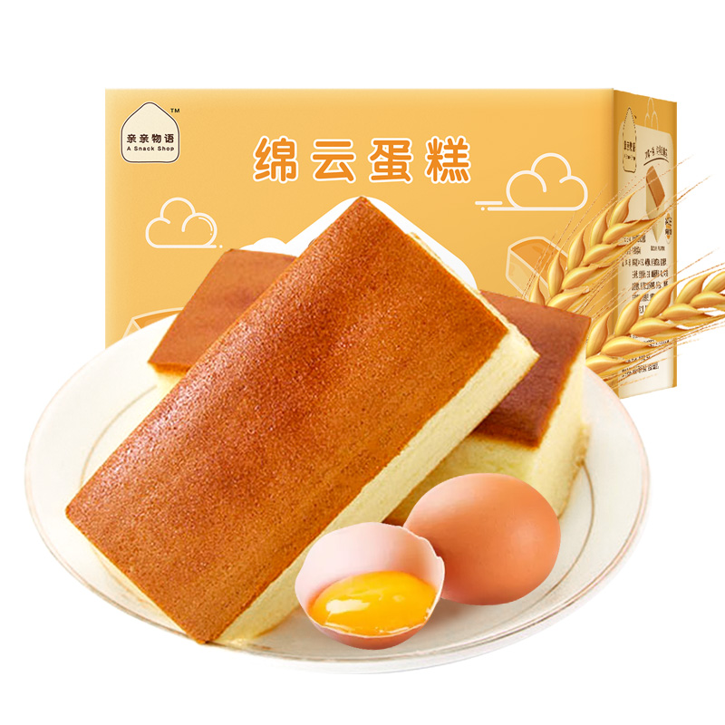 【亲亲】早餐代餐充饥纯蛋糕520g*1箱