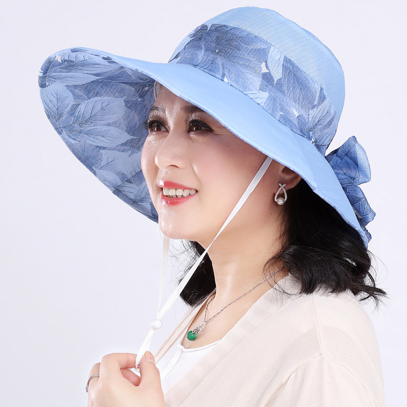1600fa85 Summer old hat ladies Basin hat elderly sunscreen hat large eaves collapsible  mother hat sun visor beach cool hat