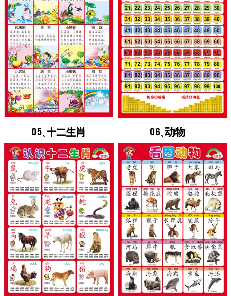 Wall Chart Silent Single Side Baby Literacy Child Enlightenment