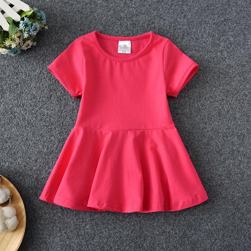 中小沙滩纯棉新款连衣裙韩版短袖公主洋气女童露背儿童裙子夏装红