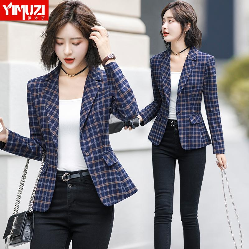 格子小西装外套女2019新款v格子秋季短款时尚韩版薄款英伦西服套装