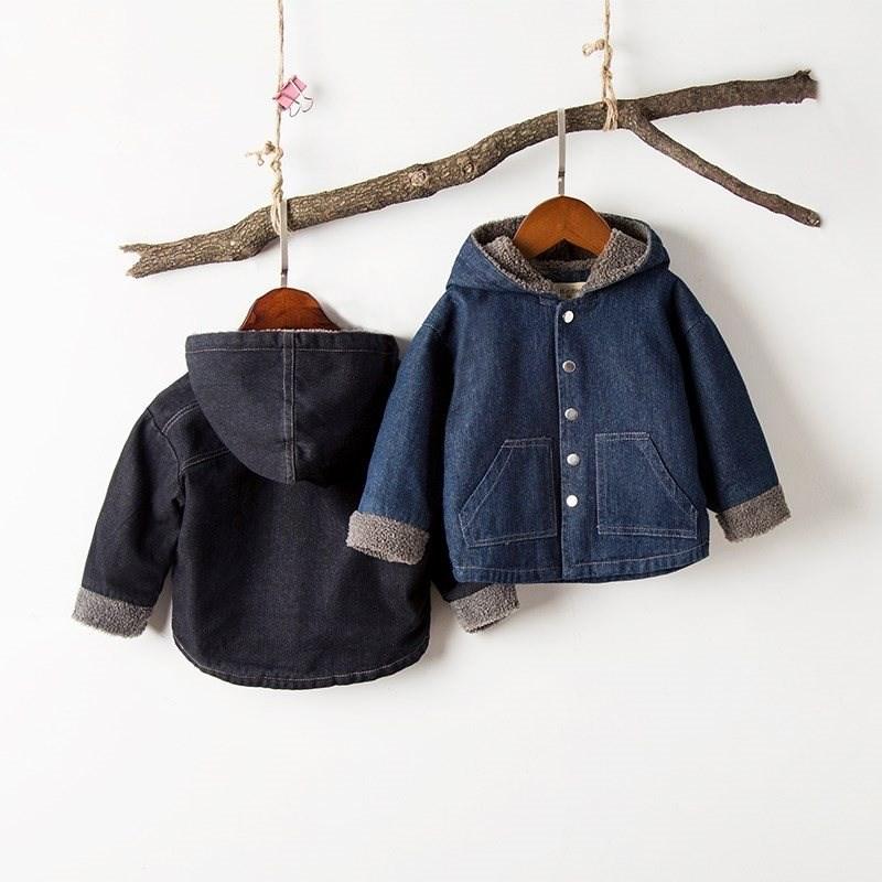 上衣男童牛仔加绒小童宝宝绒羊羔夹克新款冬装外套中秋冬加厚儿。