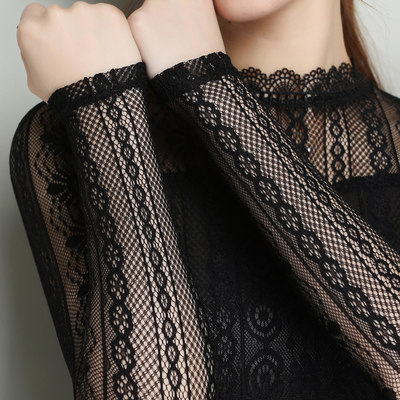 Lace bottoming shirt women's long-sleeved mesh top half high collar ahead small shirt 2021 spring new top