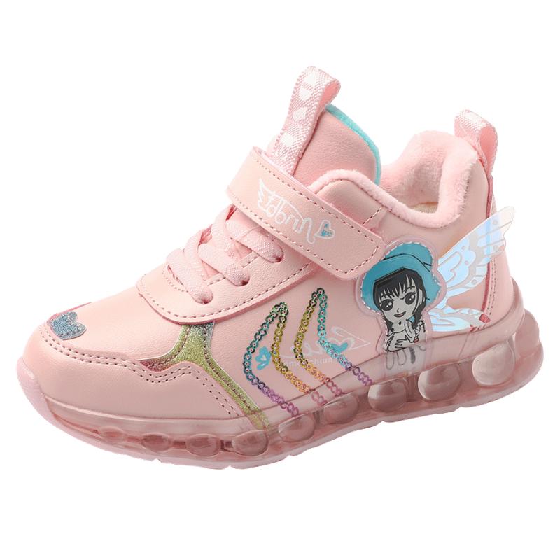 大发童女童真皮闪灯鞋加绒a女童防水冬季鞋子公主潮加厚时尚运动鞋