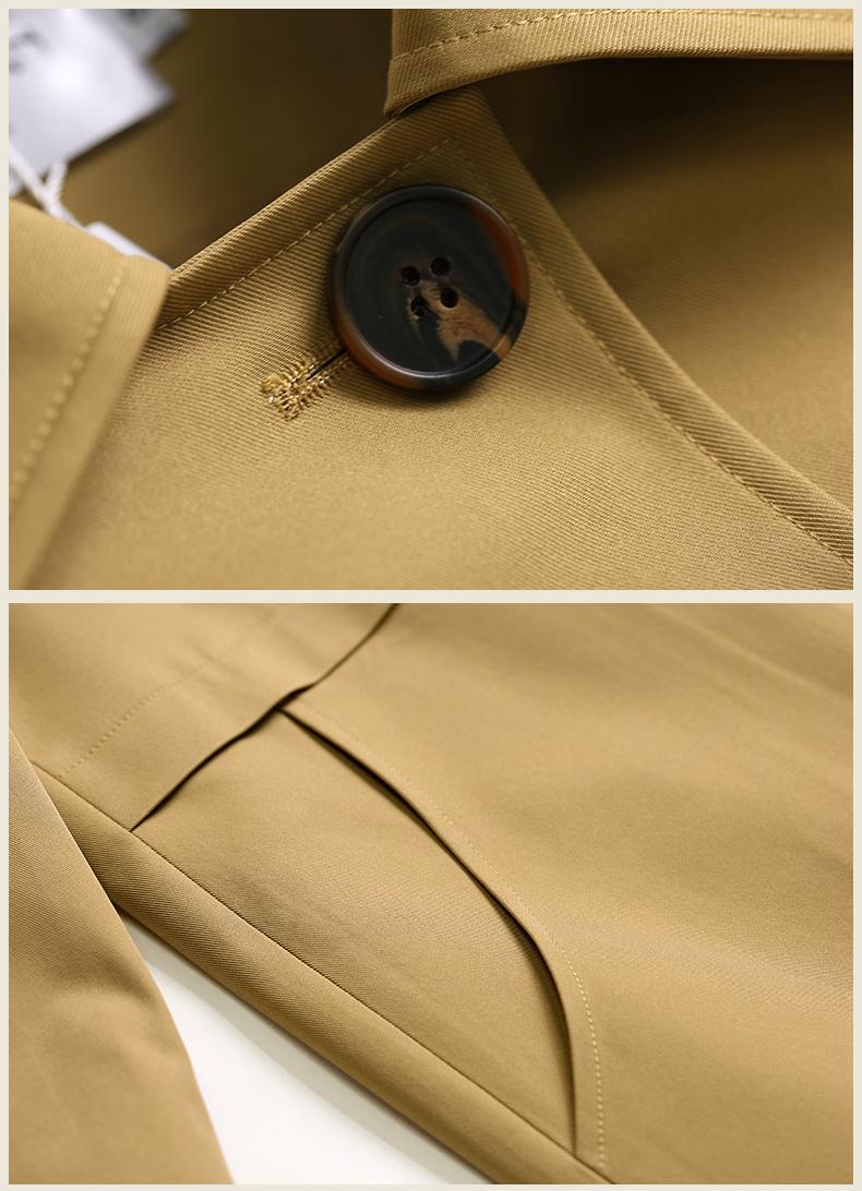 欧黎蔓春季新款卡其色简约气质宽鬆中长版风衣女士单排扣外套详细照片