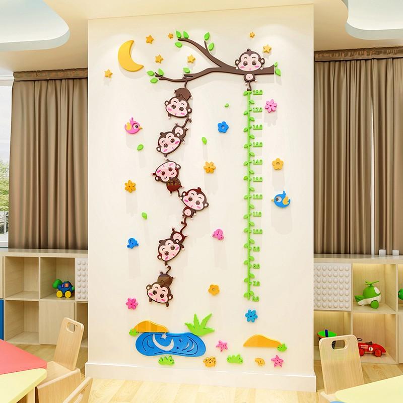 幼儿园装饰贴纸画3d立体墙贴亚克力宝宝房儿童身高贴量身高尺装饰