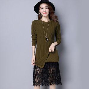 长毛衣女套头长款版过膝盖冬季长袖低领保暖加绒加厚百搭打底衫