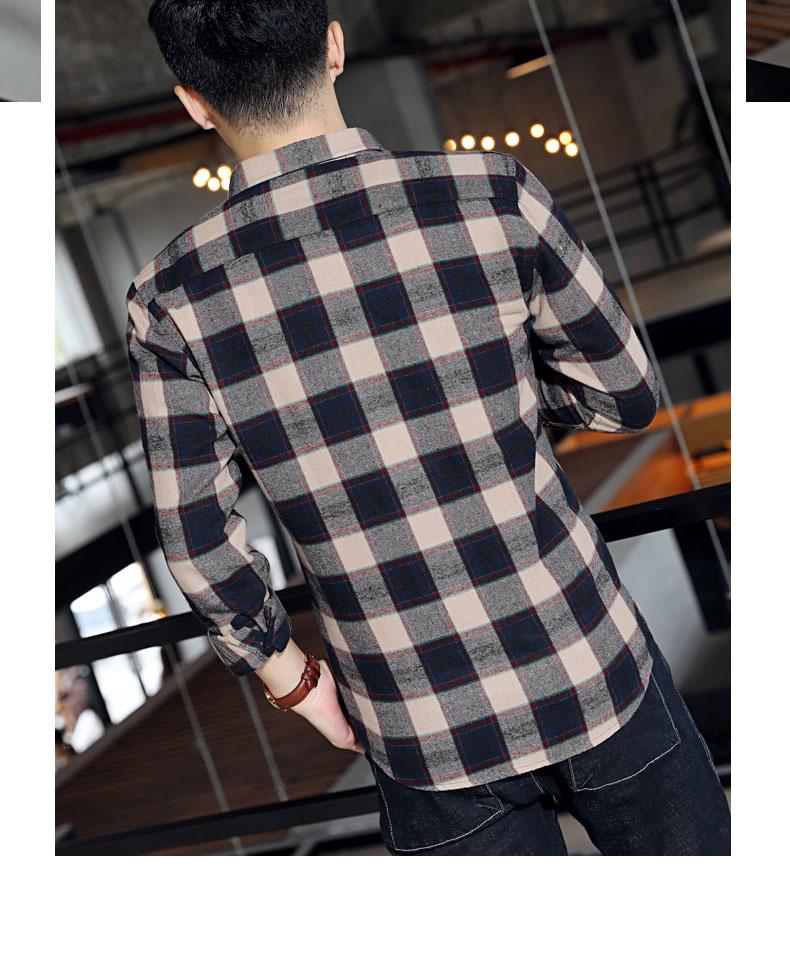 Autumn new lad shirt men's long-sleeved Korean version casual cotton shirt men's trend slimmed-down shirt jacket 53 Online shopping Bangladesh