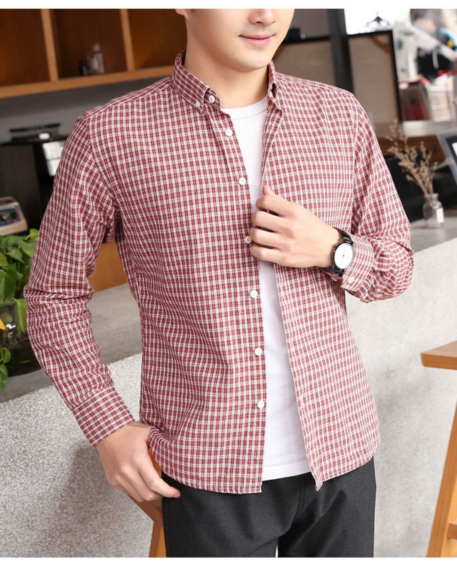 Pure cotton small plaid shirt men's long-sleeved Korean version of the tide brand casual inch clothes spring men's slim handsome shirt jacket 44 Online shopping Bangladesh