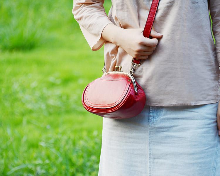 牧石MOOSHI手工定制新经典复古女式斜跨真皮小包红色迷你口金包包