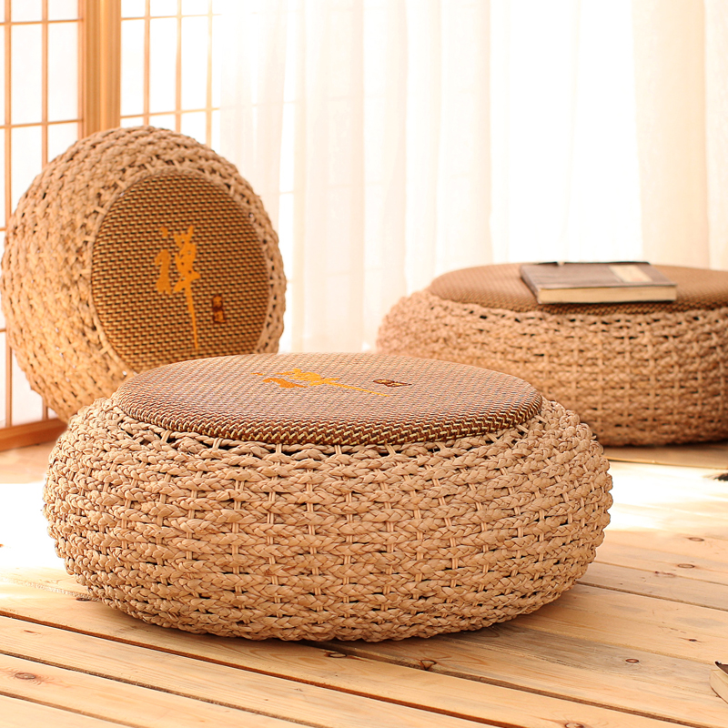 Anese Style Cushion Futon Straw Round Tatami Floor Mats Thickening Meditation Mat Home Sitting Pier