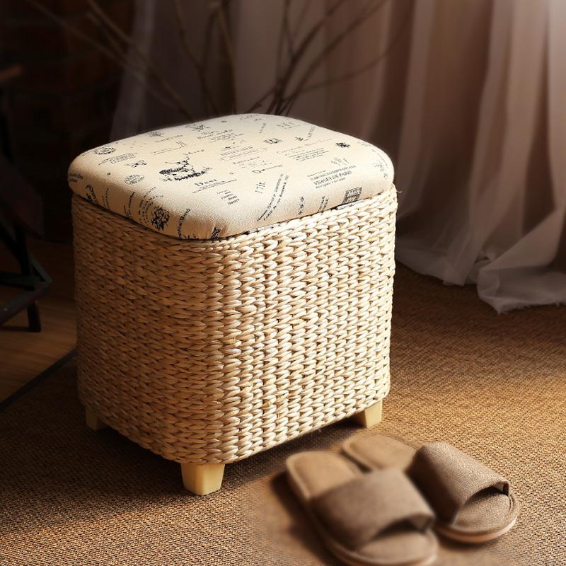 田园实木收纳凳储物凳坐凳置物凳子草编门厅换鞋凳可坐人整理箱