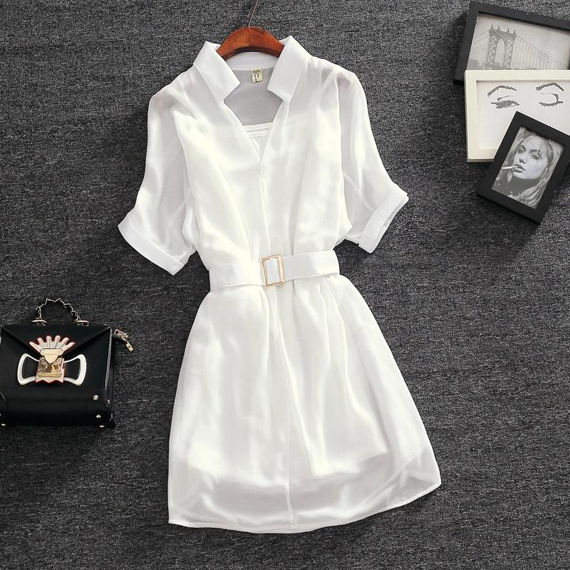 新款雪纺件套连衣裙女夏女装两时尚装宽松收腰显瘦小a雪纺裙子吊带