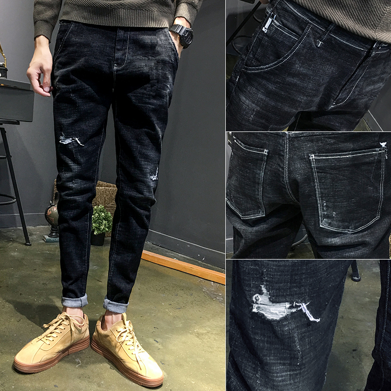 Autumn plus velvet stretch hole jeans Korean version of the trend of self-cultivation feet men straight autumn and winter models Harlan pants