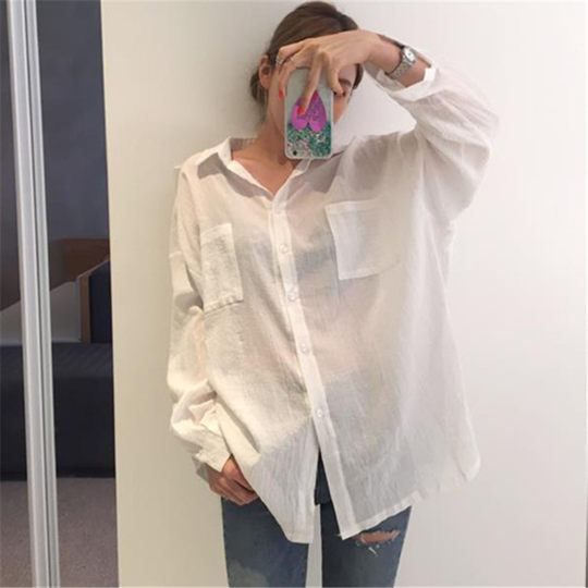 Sunscreen shirt female Korean version of the long section loose thin section perspective cotton linen shirt summer white long-sleeved shirt jacket