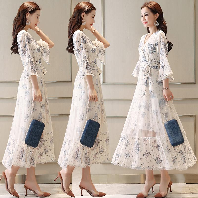 雪纺碎花连衣裙女2019款夏很仙的白长裙长款仙女超?#21830;?#32654;网纱裙子