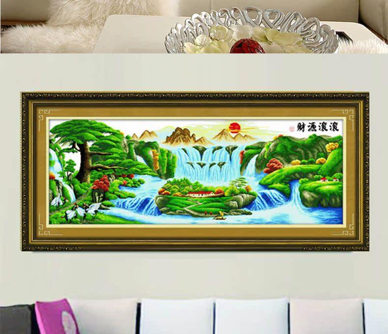 ks十字绣正品专卖迎客松财源滚滚客厅大幅风景山水画最新款印花图片