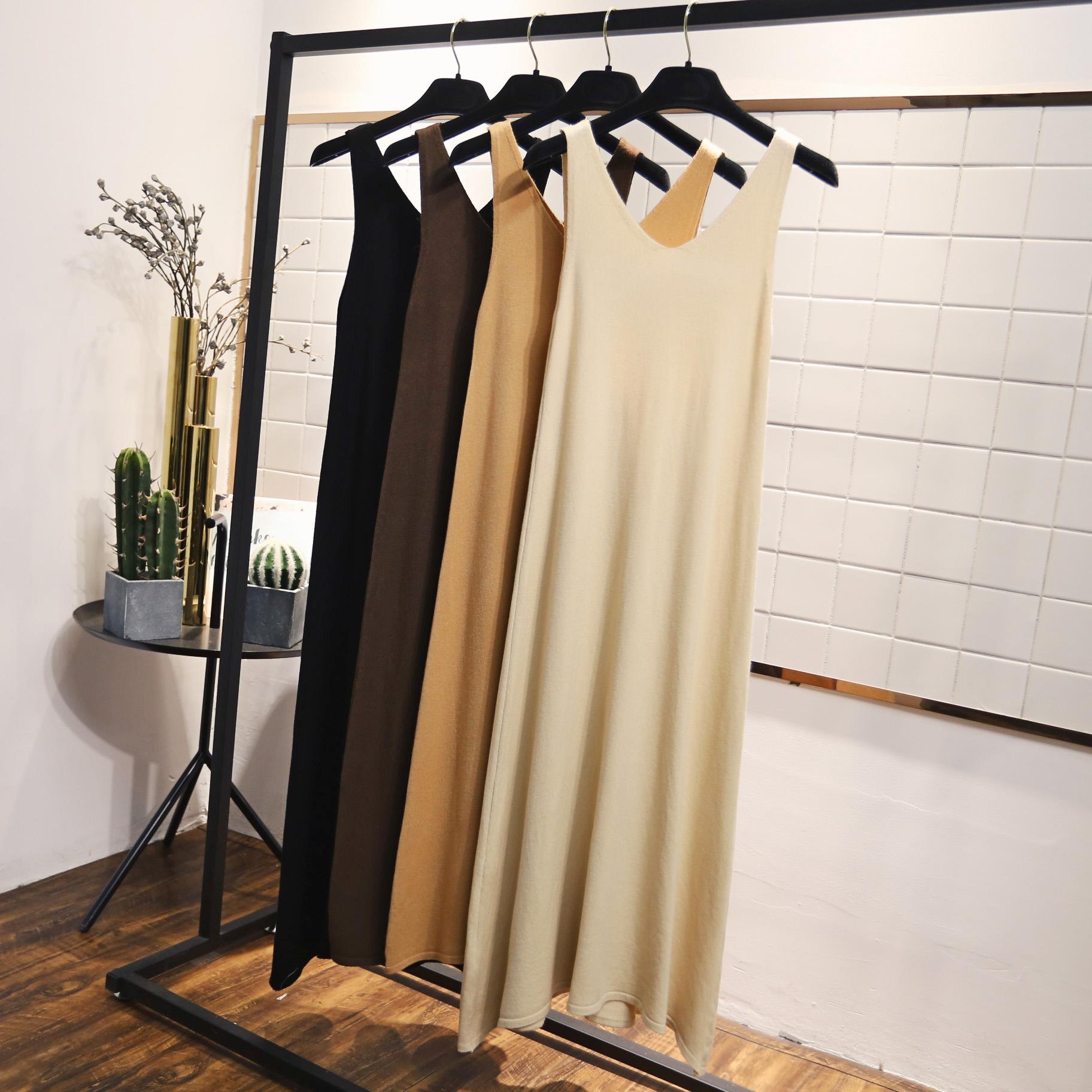 Осенние женщины 2018 года корейская версия V-образный вырез трикотажный платье без Нижнее дно фасон средней длины стиль Беременные женщины юбки жилет юбки